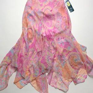 NWT Lauren Ralph Lauren sheer crepe skirt. Size 8P